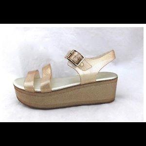 ALDO Georgea Platform Sparkle Gold Gelly Sandals